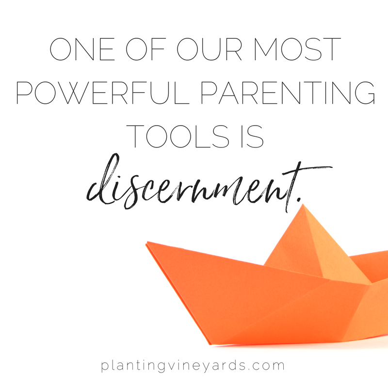 Without using discernment, I often jump to my default: yelling. But when I practice the pause and listen, it helps me get to the heart of the issue. #parenting #discernment